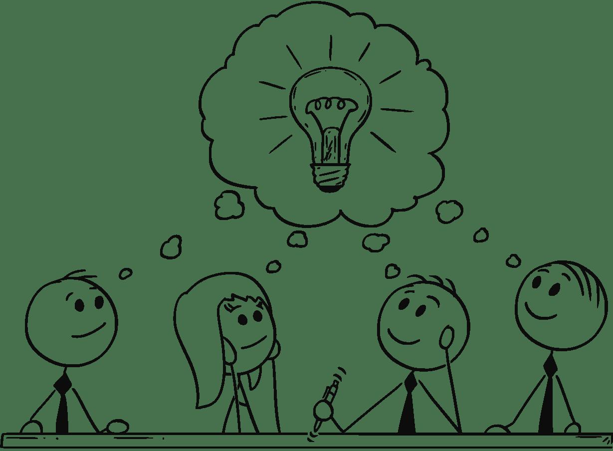 Cartoon-stick men-business-team-meeting-and-brainstorming