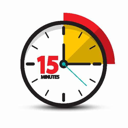 clock face showing 15 minutes
