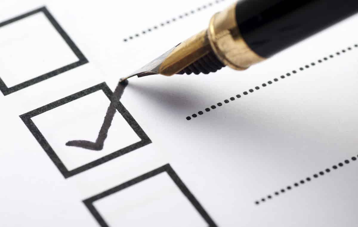 ticking off an item on a checklist