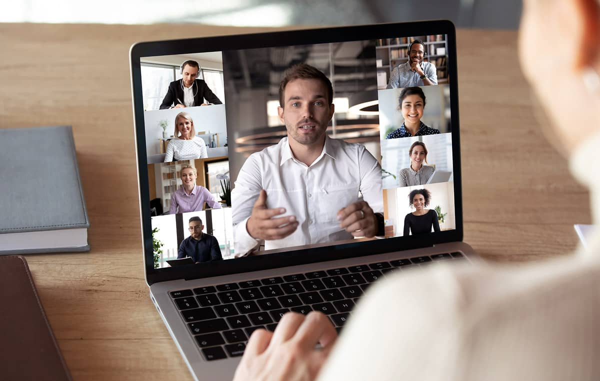 business man having an online meeting on laptop